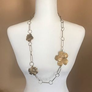 Jewelry - Chain Link Long Floral Necklace